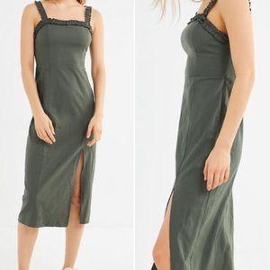 UO Remy Linen Ruffle Square Neck Midi Dress Green